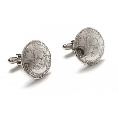 Vintage Coin Cufflinks One Shilling. These cufflinks are a stylish statement on any dress shirt. They are hand crafted from vintage New Zealand currency no longer in circulation. The one shilling coin features a crouching Maori warrior on the front and Queen Elisabeth the Second on the back. Each coin is approximately 23mm in diameter. Comes presented in a black satin lined gift box. A great gift or souvenir genuinely Made in New Zealand.  See more at www.entirelynz.co.nz/gifts