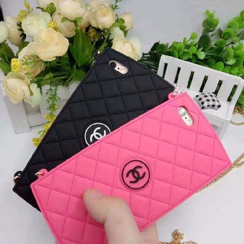 CHANEL シリコン iphone7ケース女性向け アイフォン7プラス 長いチェーン付き ペア黒やローズ 彼女プレゼント