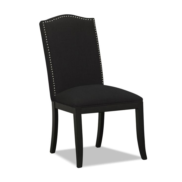Musical Chairs. The Morris upholstered chair sings with sophisticated design. Like a line of music on a blank page, individual brushed nickel nailhead trim creates a rhythmic pattern around the black linen-like upholstery.  A web-exclusive product. Item is not displayed in store, but may be ordered there.