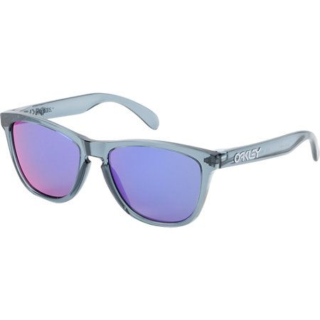 The Oakley Frogskin is a classic frame that will never go out of style. Born and made popular in the 80s the Oakley Frogskin has come back harder than ever. These pair of sunglasses feature a clear black crystal frame and a mirrored violet iridium lens. The Frogskin sunglasses from Oakley have great old school style with some new school tech.
