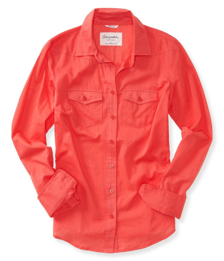 Sheer Long Sleeve Woven Shirt from Aeropostale