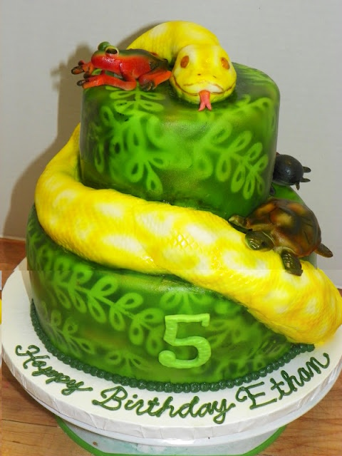 "Plumeria Cake Studio: Reptile Snake Cake ""pin it without the turtles and the frog"""