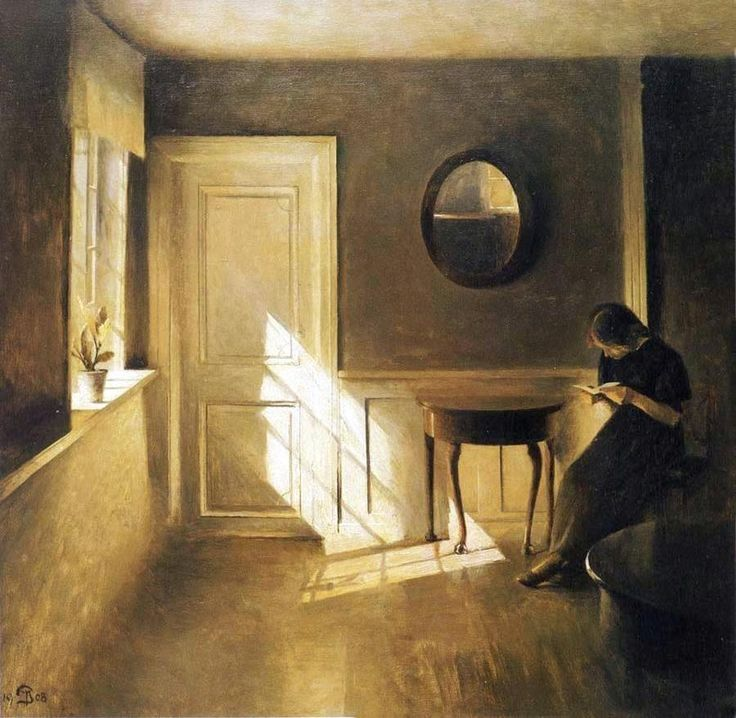 Peter Ilsted (Danish painter) 1861 - 1933  Interior med ung Pige, der Læser et Brev (Interior with a young Girl Reading a Letter), 1908  oil on canvas