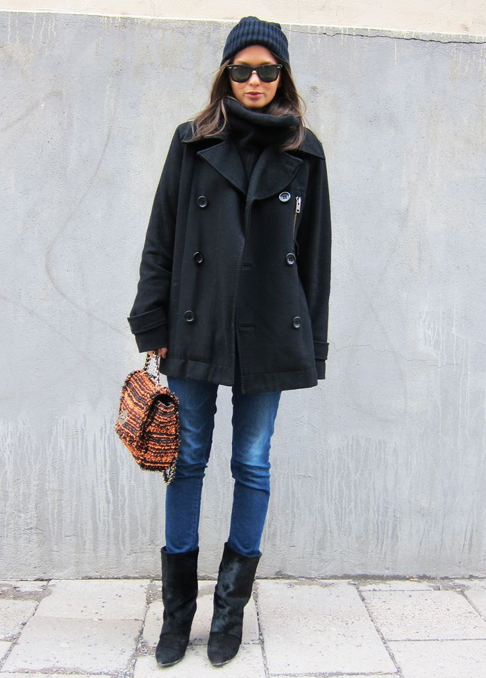Beautiful Black Coat With Blue Jeans And Cute Bag
