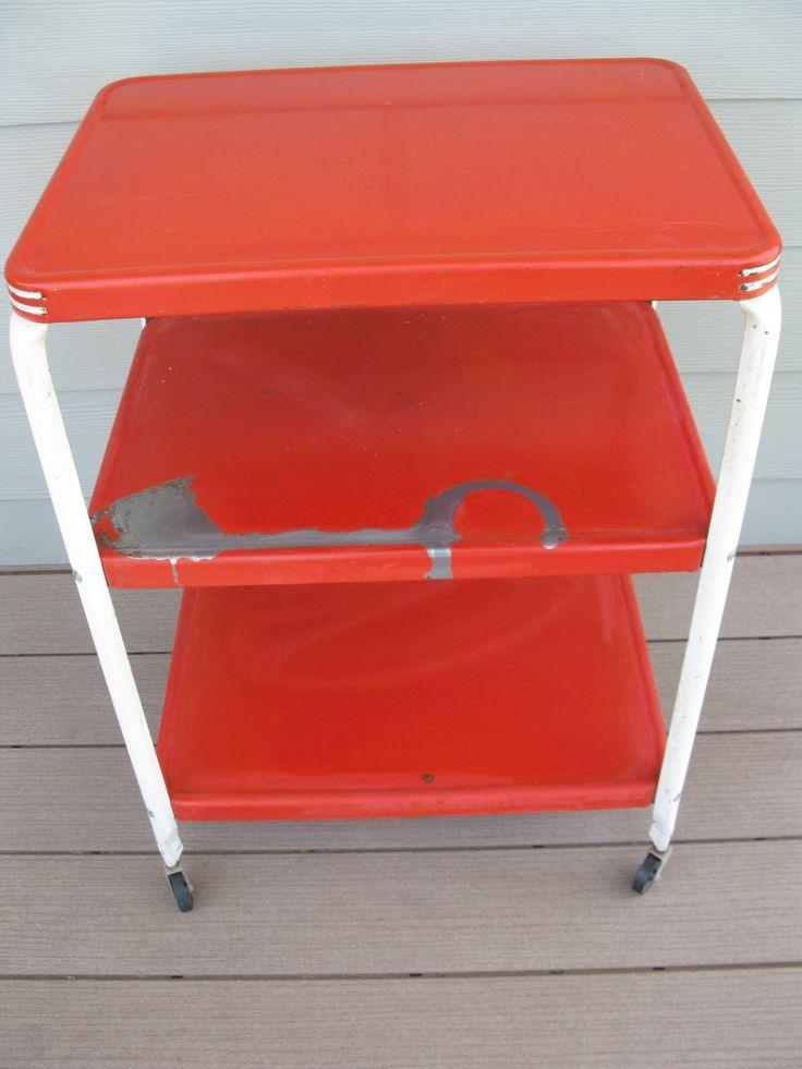 Vintage Metal Rolling Cart -Inca Craftsman-Shabby- 3 Tier - 3 shelf -red -industrial Storage.- Deck- Organizer- Utility cart- serving cart by oakiesclaptrap on Etsy