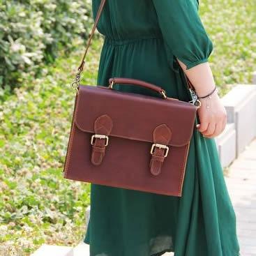 Vintage Handmade Leather Briefcase, Satchel, Messenger Bag / Case