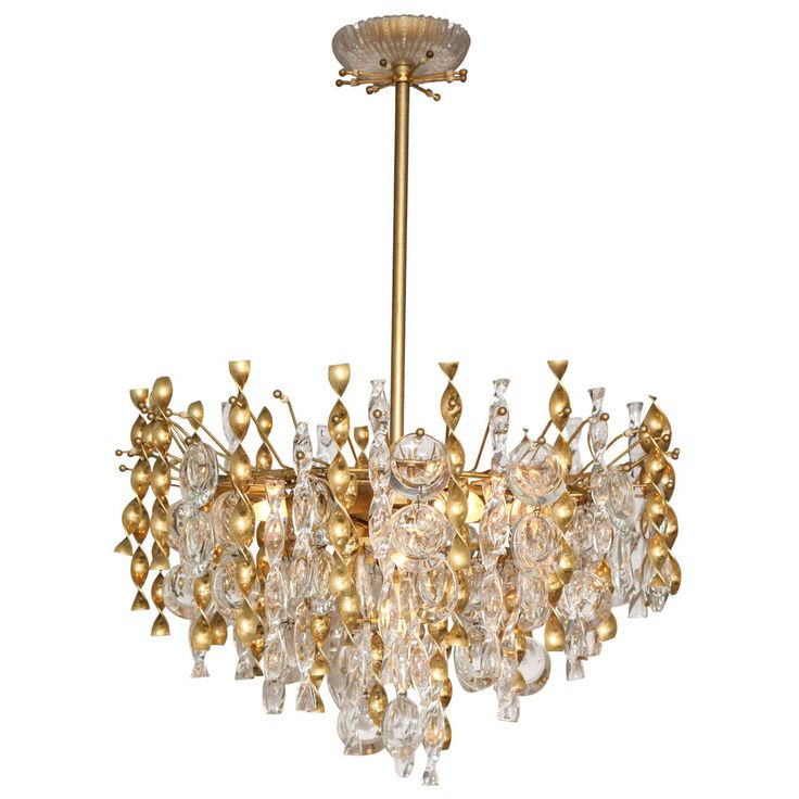 Sciolari Crystal Lens Pendant Chandelier with Glass and Brass Twists