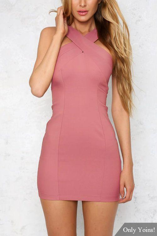 Sleeveless Zip Back Bodycon Mini Dress -YOINS