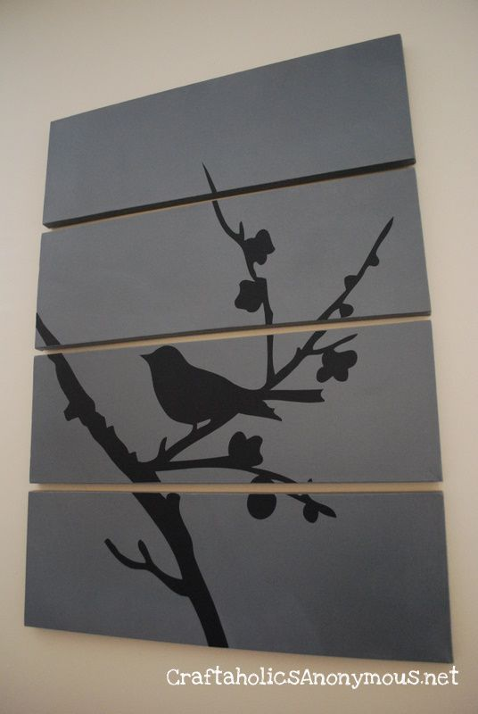 DIY art/panels. - I need more artwork and this would be so cheap and easy to do! I think a stencil would be just as cute.