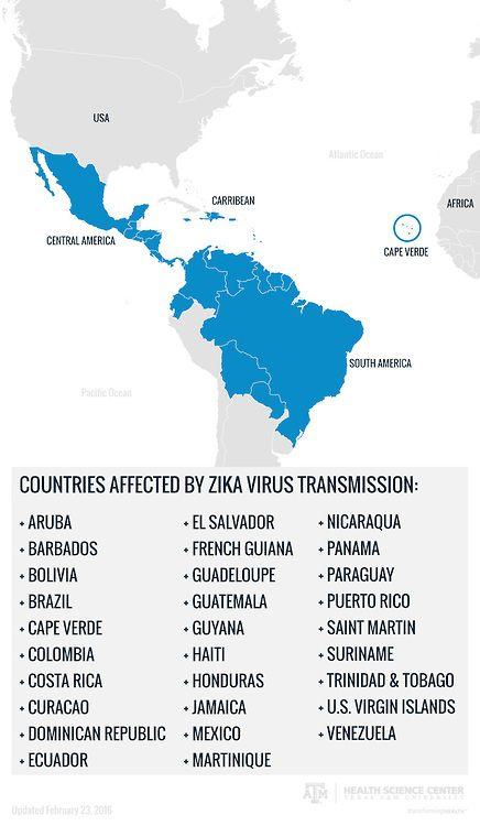 Zika Virus - Countries Affected by Zika Virus (Source:  https://vitalrecord.tamhsc.edu/zika360/resources/)