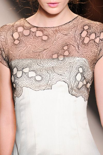 Delicate thread patterns - fashion echoing organic form; dress details // Lela Rose