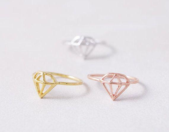 Minimalistic Diamond Shaped Ring 18k Gold Silver by MinimalMeow