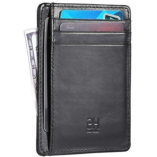 369819179a90 Slim RFID Blocking Card Holder Minimalist Wallet Genuine Leather ...