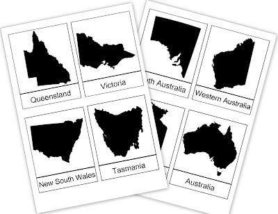Australian States Printable - For Australia Day