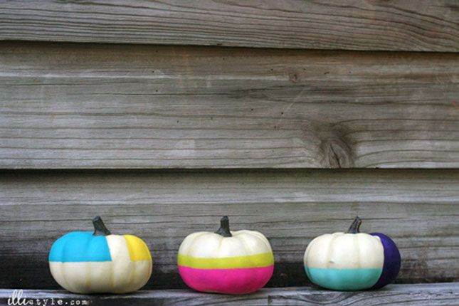 18 Super Chic No-Carve Pumpkins via Brit + Co.Colours Block, Decor Ideas, Autumn Fall, Pumpkin Decor, Block Pumpkin, Colors Block, Carvings Pumpkin, Diy Pumpkin, Halloween