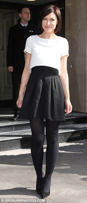 Monochrome chic: Emma Willis went for a white top and black skirt as she made a late entry to the bash. Read more: http://www.dailymail.co.uk/tvshowbiz/article-2292130/Former-Im-A-Celebrity-stars-Ashely-Roberts-Helen-Flanagan-flirty-skater-dresses.html#ixzz3JQGvXmeM