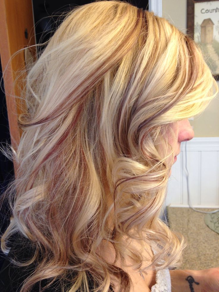 Blonde And Red Copper Slices Hair Foils Nails Make Up