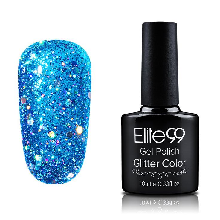 Elite99 Soak Off Gel Polish Glitter Colour Nail Art UV LED Manicure Shiny Lacquers 10ml Glitter Dodger Blue >>> This is an Amazon Affiliate link. You can get additional details at the image link.
