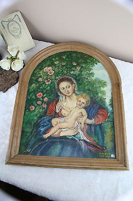 Gorgeous Flemish 60's Religious painting panel madonna child wood plaque
