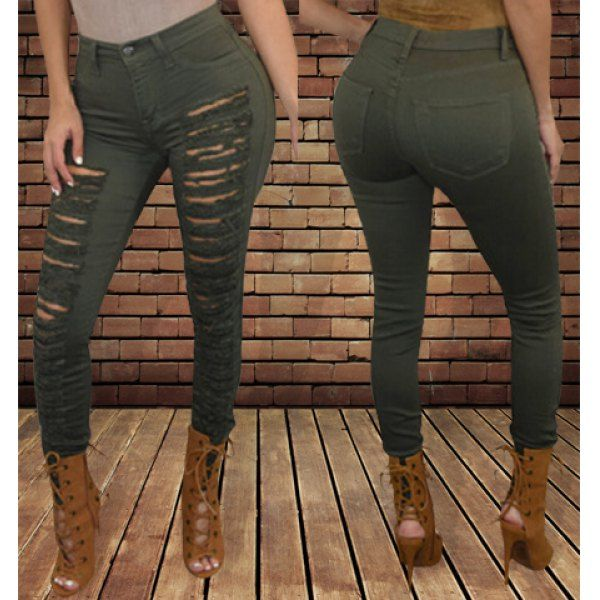 Fashionable Mid-Waisted Solid Color Skinny Ripped Jeans For Women Only $10.99 Drop Shipping | TrendsGal.com