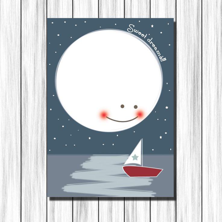 Cuadro infantil Luna y Barca para decoración habitación niños y bebés