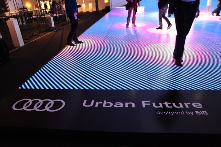LED floor uses Kinect technology to detect movement and change colors when someone is standing on it.
