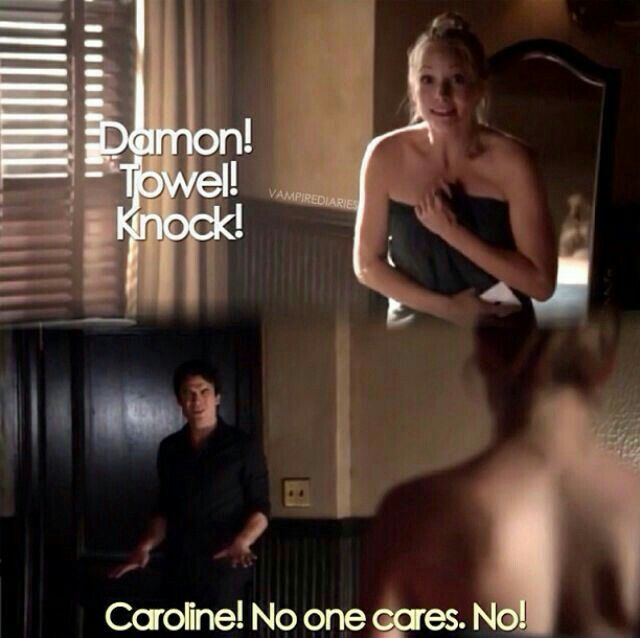 This scene was hilarious. Besides the fact they slept together in season 1, obviously Damon is crazy over Elena and not Caroline.