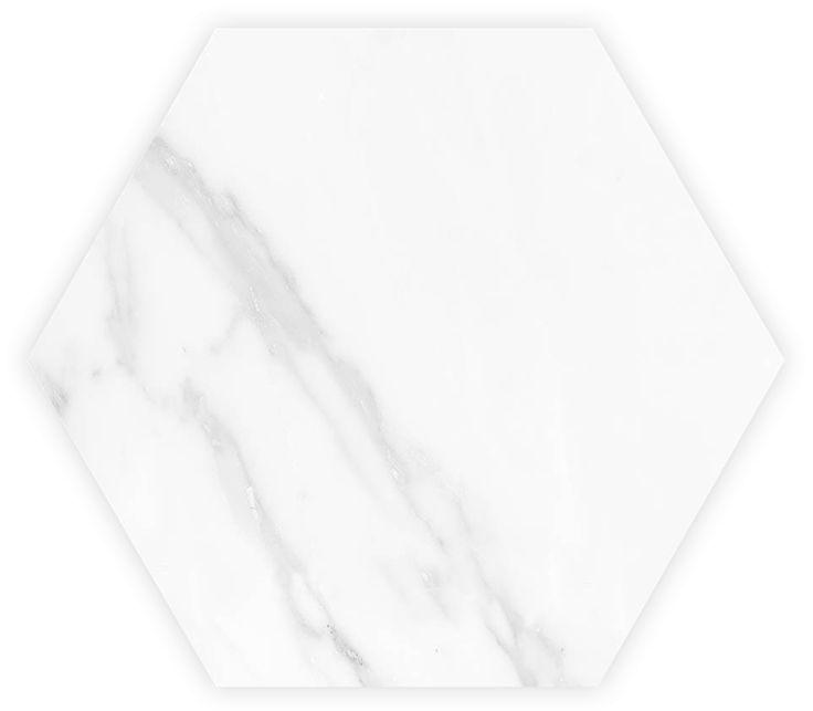 Zug   Lamosa Pisos & Muros Cerámico - Blanco 33 x 33 cm. Hexagonal Brillante - Marmoleado
