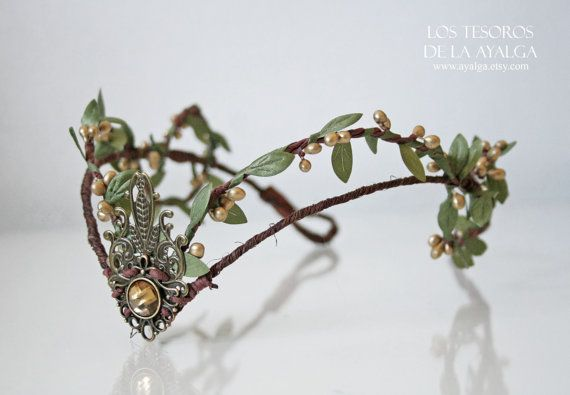 Woodland elf tiara  elven headpiece  fairy crown by Ayalga on Etsy