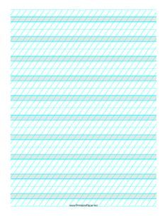 This Calligraphic Practice Paper features alternating sets of blue lines spaced 1/4- and 1/2-inch apart with low angle vertical guidelines on letter-sized paper in portrait orientation. Free to download and print