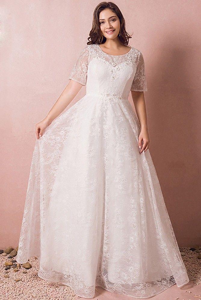 Shop Affordable Modest Lace Short Sleeve Plus Size Wedding Dress