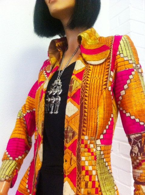 The most AMAZING 60s rock star MAXI coat on the planet // woven silk // Mind blowing.. £350.00, via Etsy.