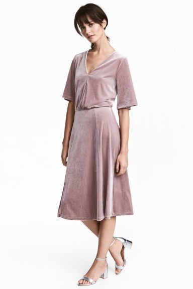 Платье из велюра - Серо-лиловый - Женщины | H&M RU