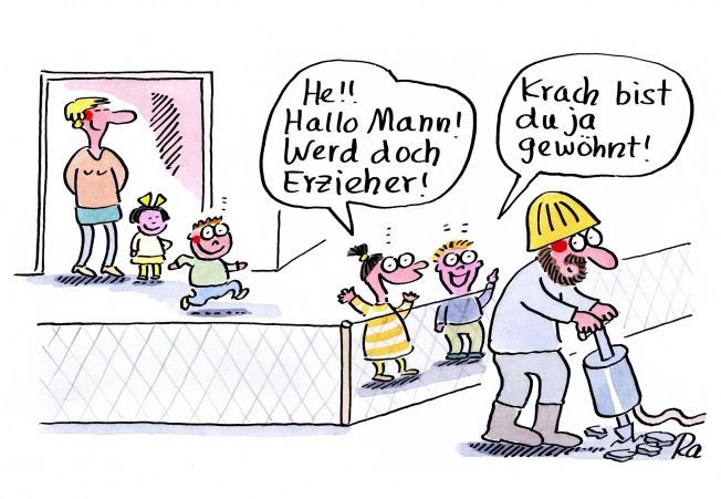 Kindergarten_KiGaPortal_Cartoon_Renate Alf_Männer
