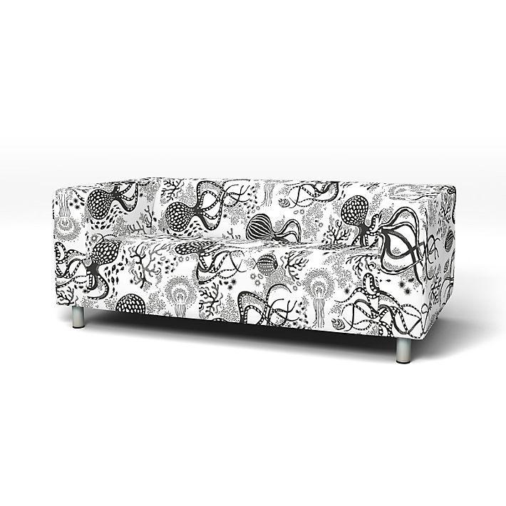 Klippan Sofa Covers 2 Seater Regular Fit Using The Fabric Aquatic Nearly Black White Sofa Covers Klippan Sofa