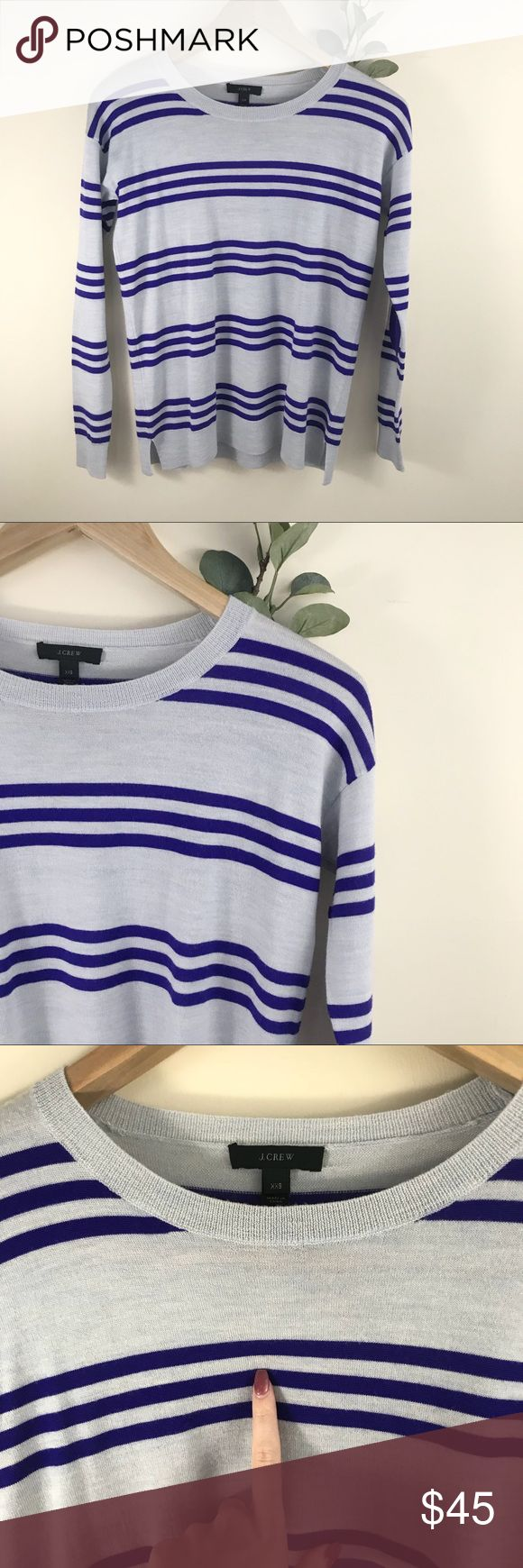 J. Crew Striped Wool Elbow Patch Pullover Sweater J. Crew Striped Wool Elbow Patch Pullover Sweater. Purple and gray. EUC. Very small minor spot as shown. Size XXS. Made of Merino wool. J. Crew Sweaters Crew & Scoop Necks