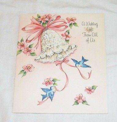 Vintage Wedding Money Gift Card Halllmark - Blue Birds Apple Blossoms Hall Bros