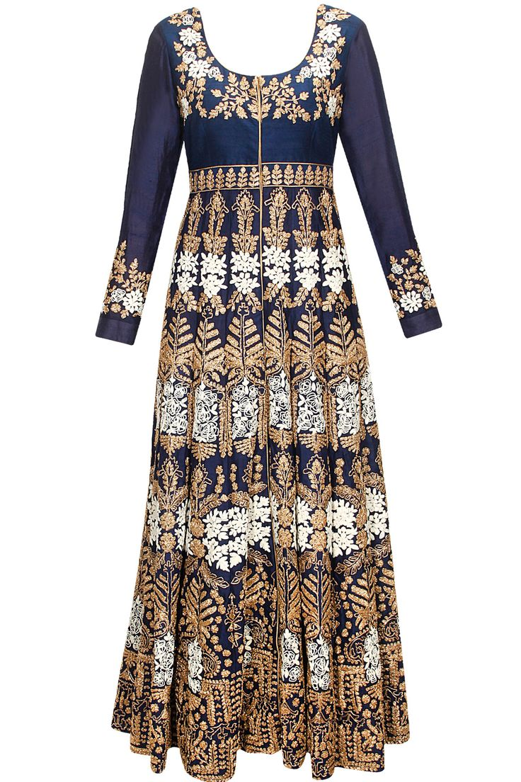 Sapphire blue heavily embroidered anarkali set by Aneesh Aggarwal. Shop now: www.perniaspopupshop.com. #anarkali #aneeshaggarwal #embroidered #clothing #shopnow #perniaspopupshop #happyshopping