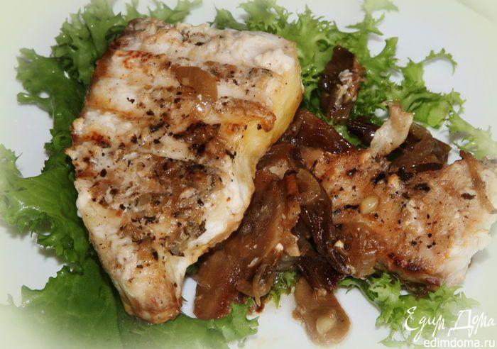 """Филе белой рыбы с грибами .(""""Соус """"в рецепте- это итальянская заправка (italian dressing)"""