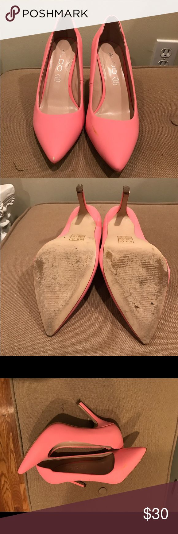 Cotton candy pink heels A mix between cotton candy and bubble gum, these heels are adorable. Worn once to a wedding. Aldo Shoes Heels