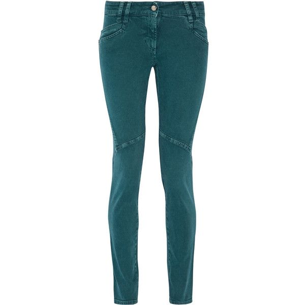 Just Cavalli Mid-rise skinny jeans (200 CAD) ❤ liked on Polyvore featuring jeans, pants, teal, teal jeans, mid rise skinny jeans, just cavalli, medium rise jeans and denim skinny jeans