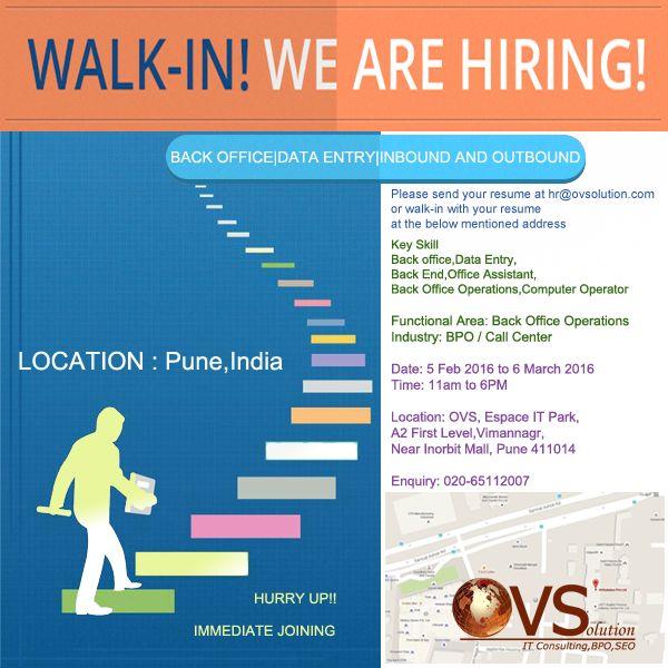 Walk-in freshere for Data ENTRY @ovsolution Pune! #hiring #jobsinpune #jobspune #bpo #careers #ovs