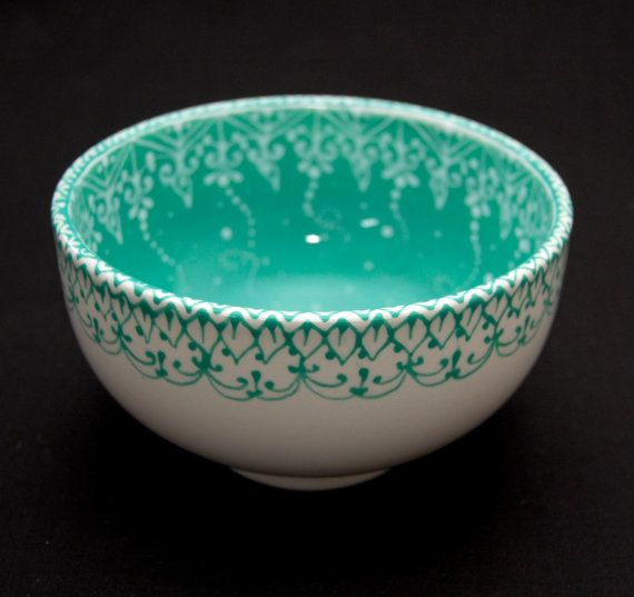 Teal Hand Painted Soup/Cereal Bowl by HennaCraft on Etsy, $32.00