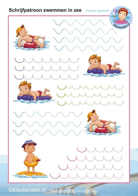* Schrijfpatroon zwemmen in de zee! kleuteridee.nl
