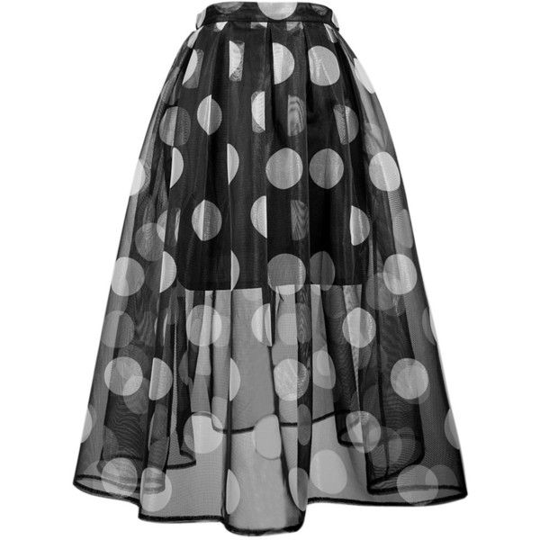 Choies Black Polka Dot Sheer Midi Skater Skirt With Lining ($17) ❤ liked on Polyvore featuring skirts, bottoms, gonne, multi, black midi skirt, flared skirt, circle skirt, skater skirt and black circle skirt