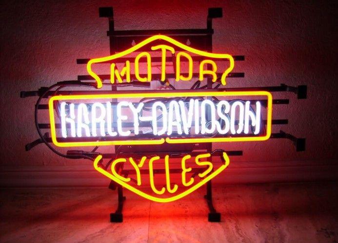 neon sign enseigne lumineuse am ricaine harley davidson superbe finition prise secteur 220v. Black Bedroom Furniture Sets. Home Design Ideas