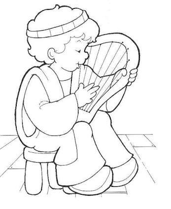 Resultado de imagen para david tocando el arpa para colorear