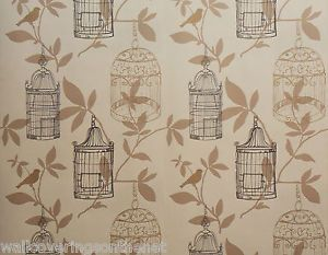 Details about Cream,Brown,Go ld & Black,Bird Cage Wallpaper, Printed  - Black gold bird wallpaper