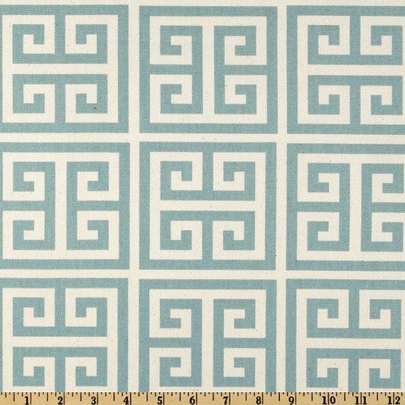 Greek Key Fabric Premier Prints Towers Blue Natural Village Home Decor By  The Yard   1 Yard Or More   SHIPS FAST
