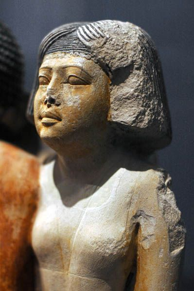 Detail. Painted Limestone Statue of Nykara and His Family, 5th Dynasty.